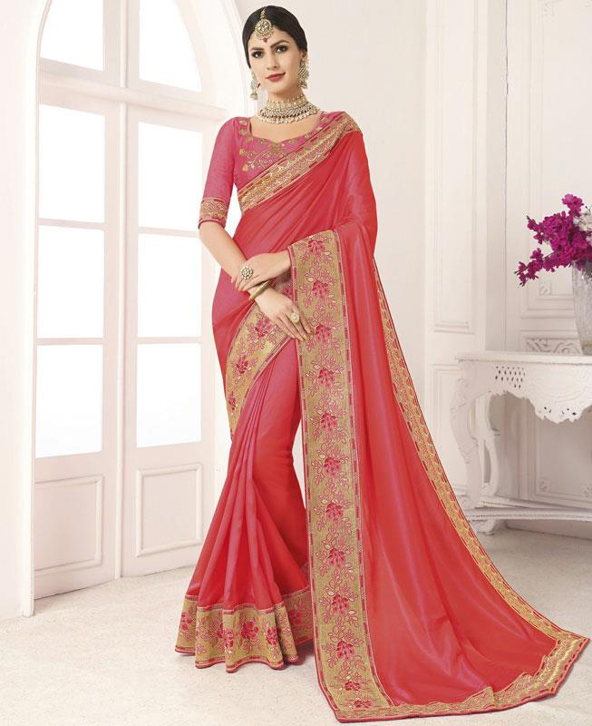 Border Work Silk Saree in Pink