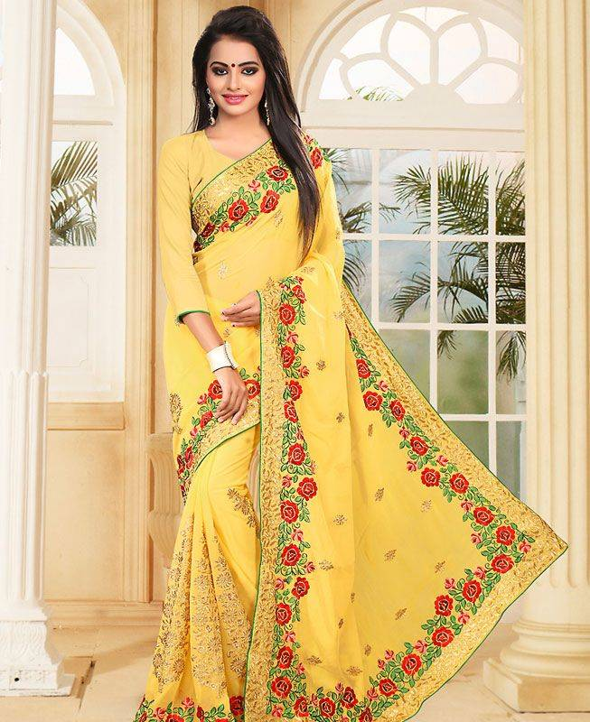 Embroidered Georgette Saree (Sari) in Yellow
