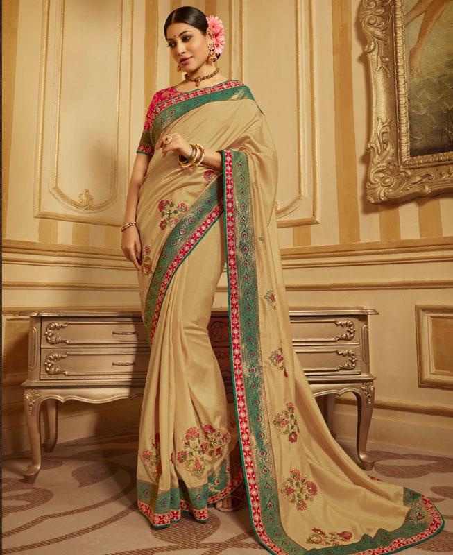 Embroidered Silk Saree in Beige