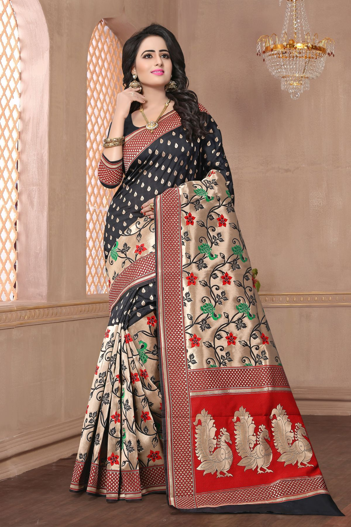 Woven Art Silk Saree in Black
