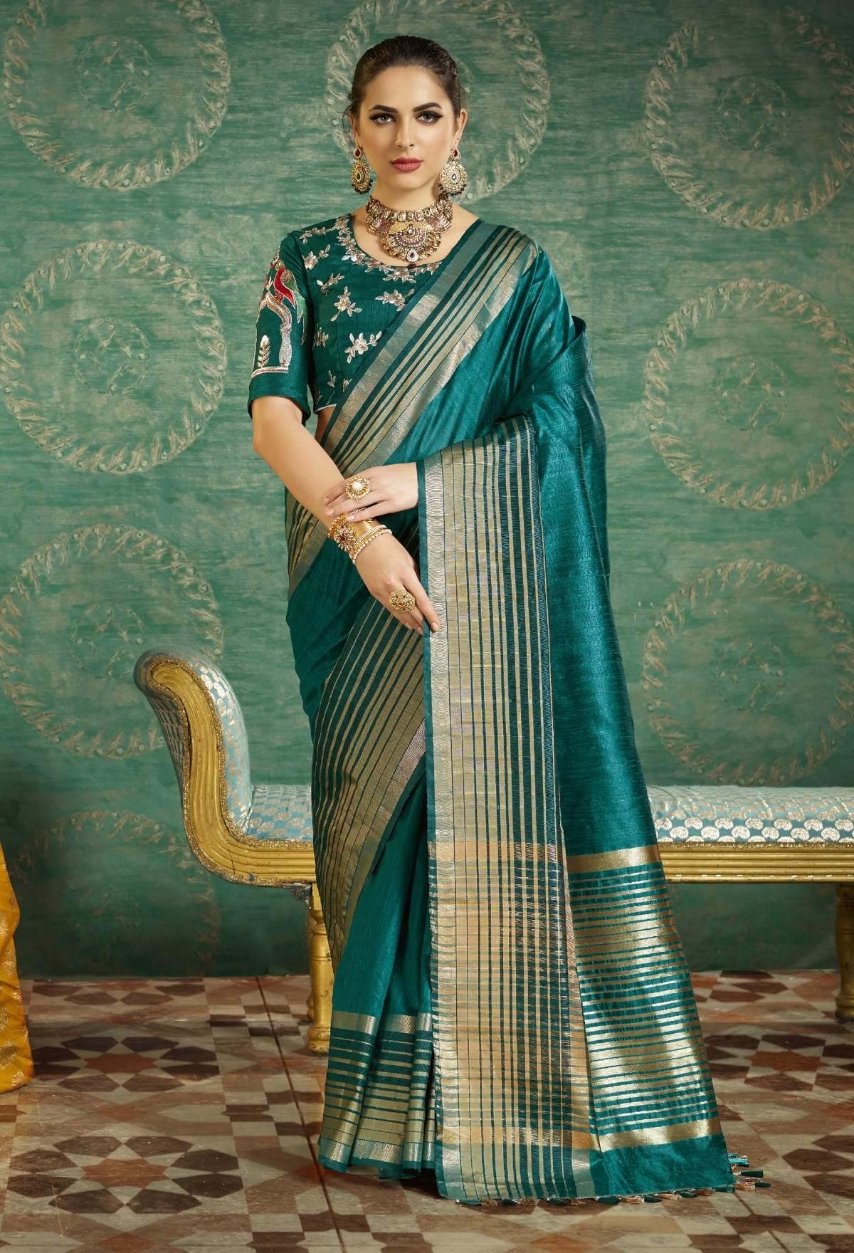 Thread Art Silk Saree in Blue