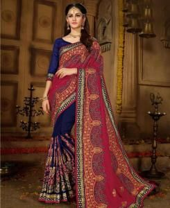 Embroidered Silk Saree (Sari) in Navyblue