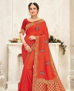 Stone Work Silk Saree in Orange