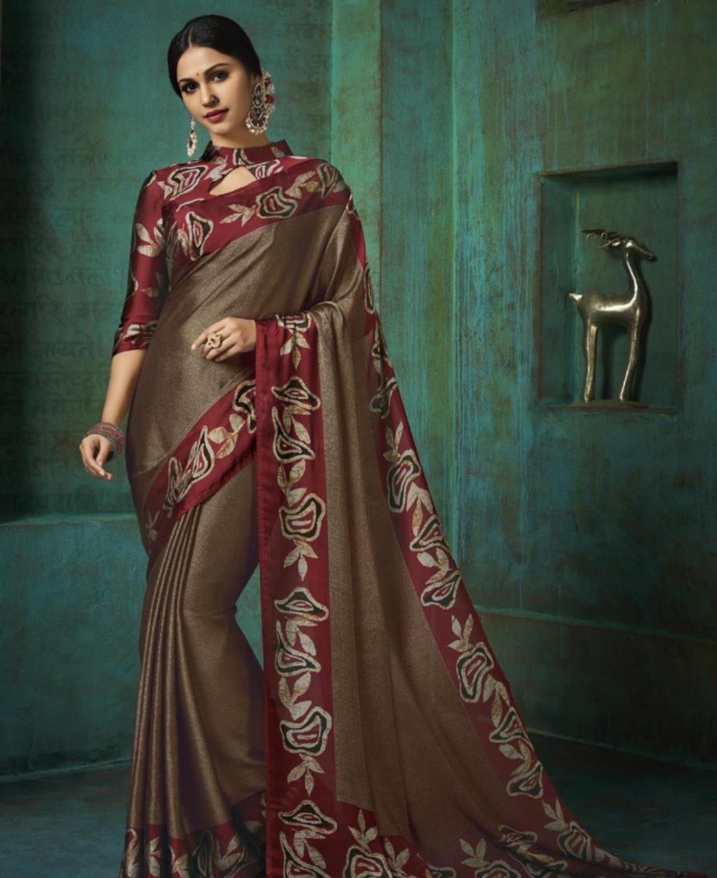 Printed Silk Saree in Brown