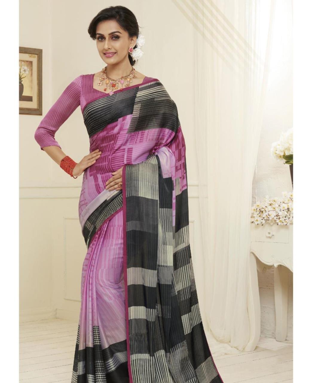 Printed Satin Saree in Pink  ,  Black