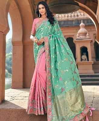 Embroidered Banarasi Silk Saree in Green