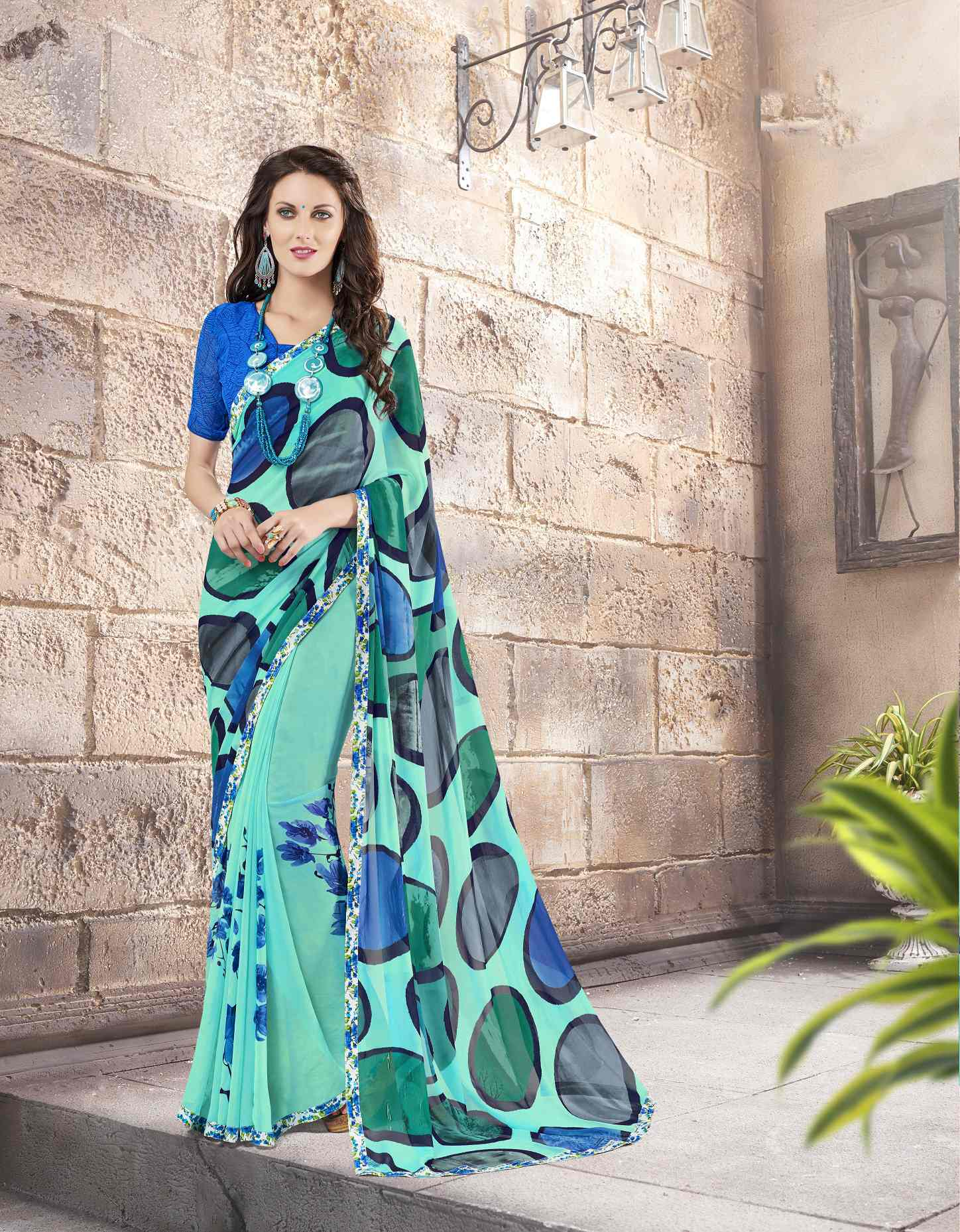 Printed Georgette Saree (sari) in SEAGREEN