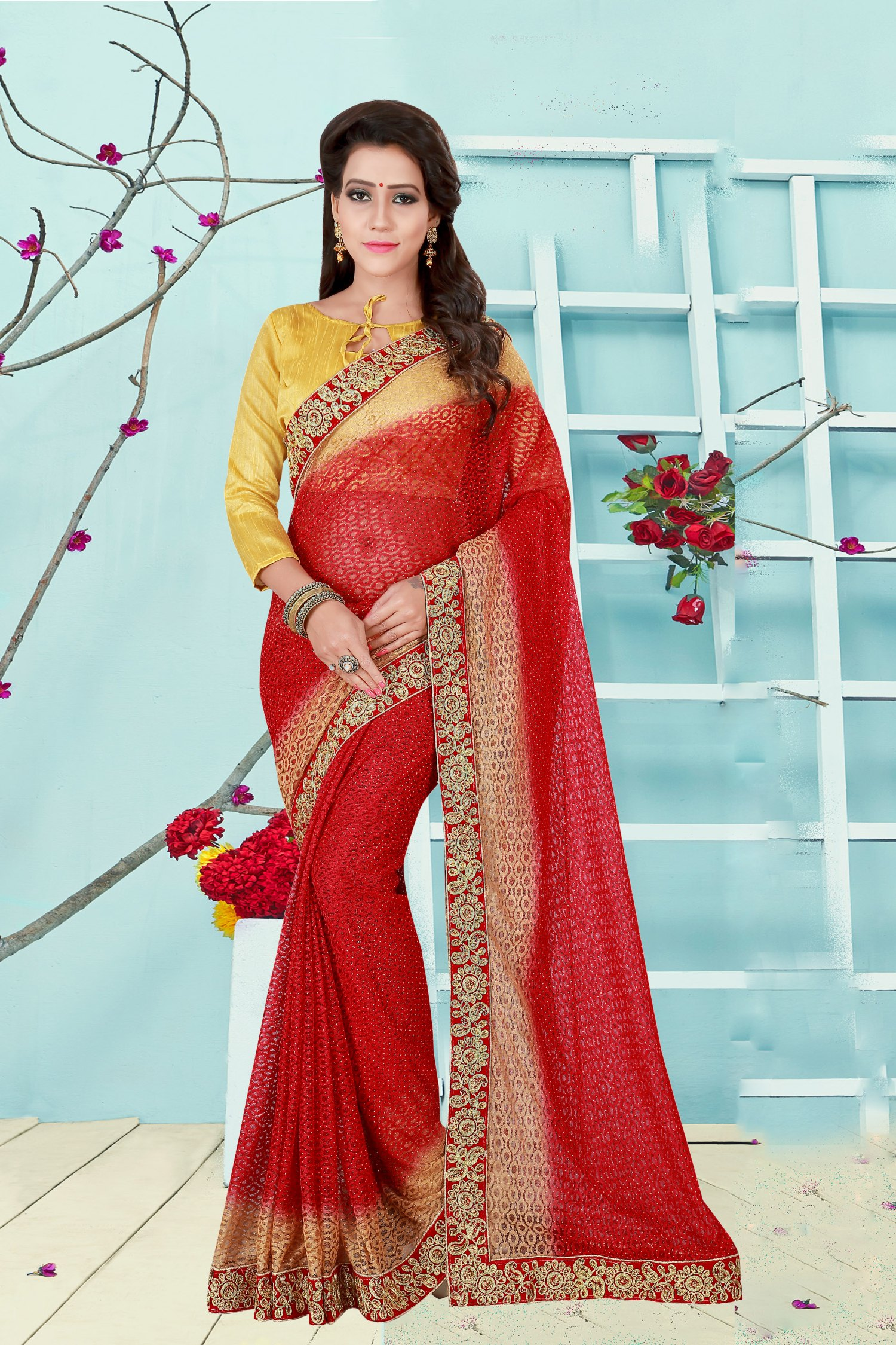 Embroidered Net Saree in Red