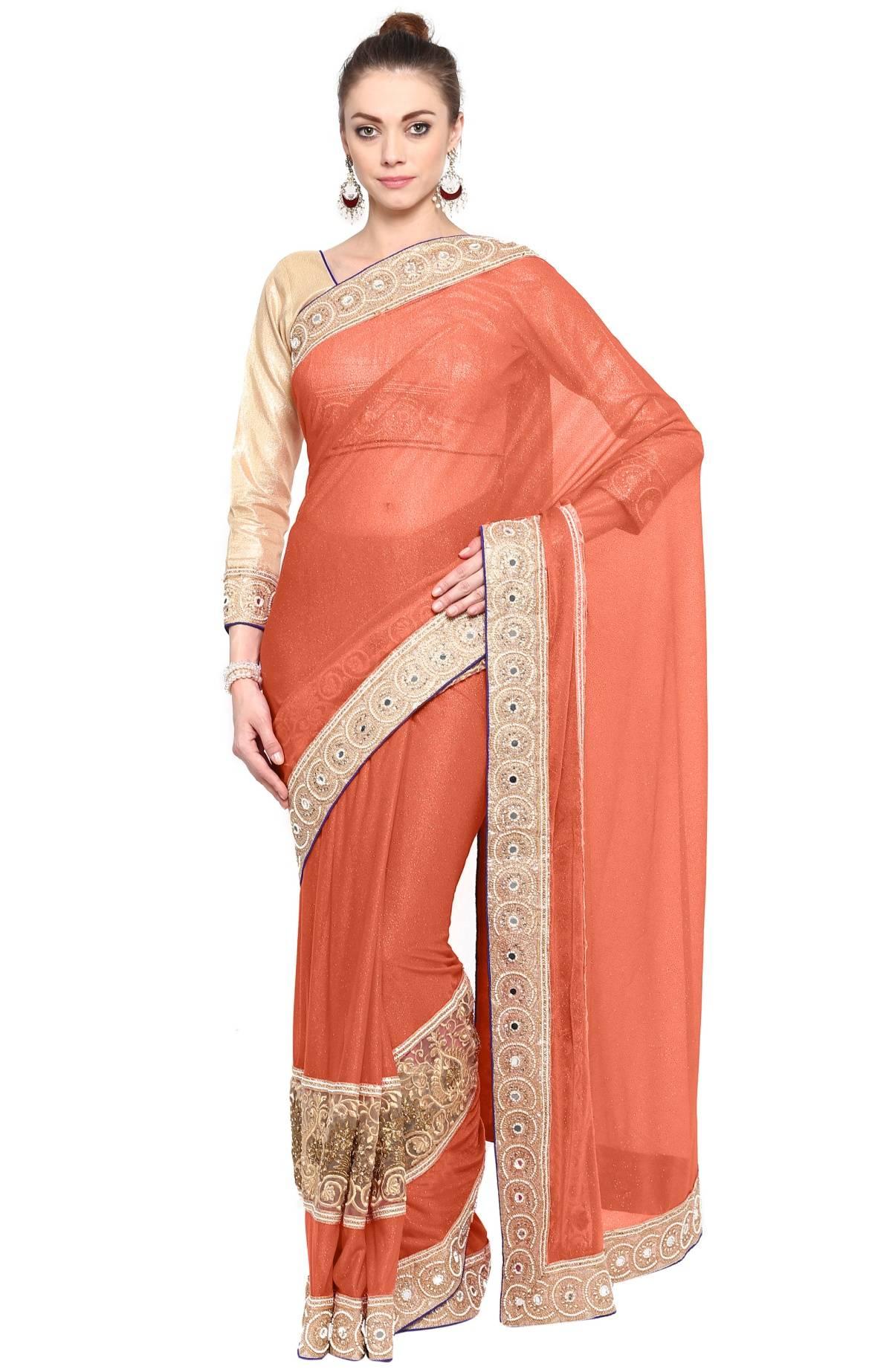 Embellishments Lycra Saree (Sari) in Orange