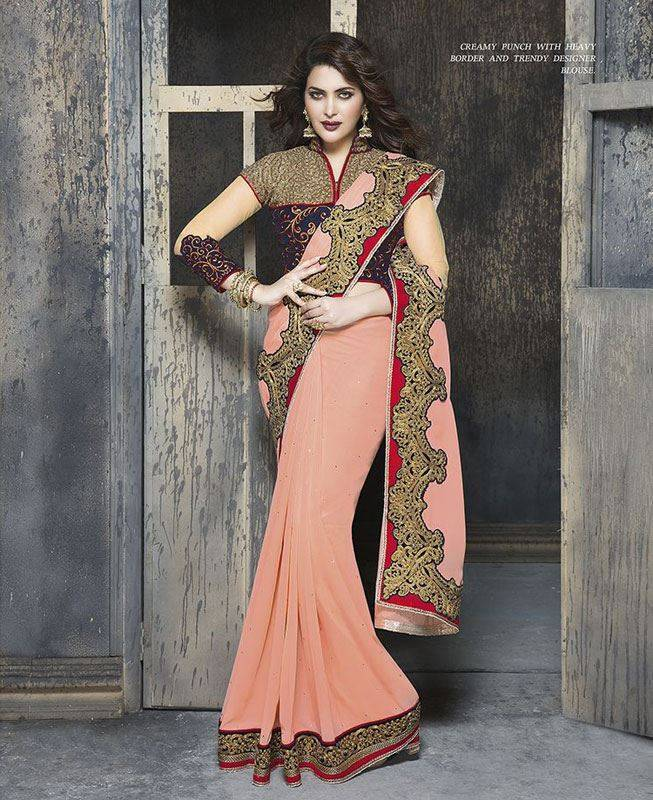 Crystals Georgette Saree (Sari) in Pink