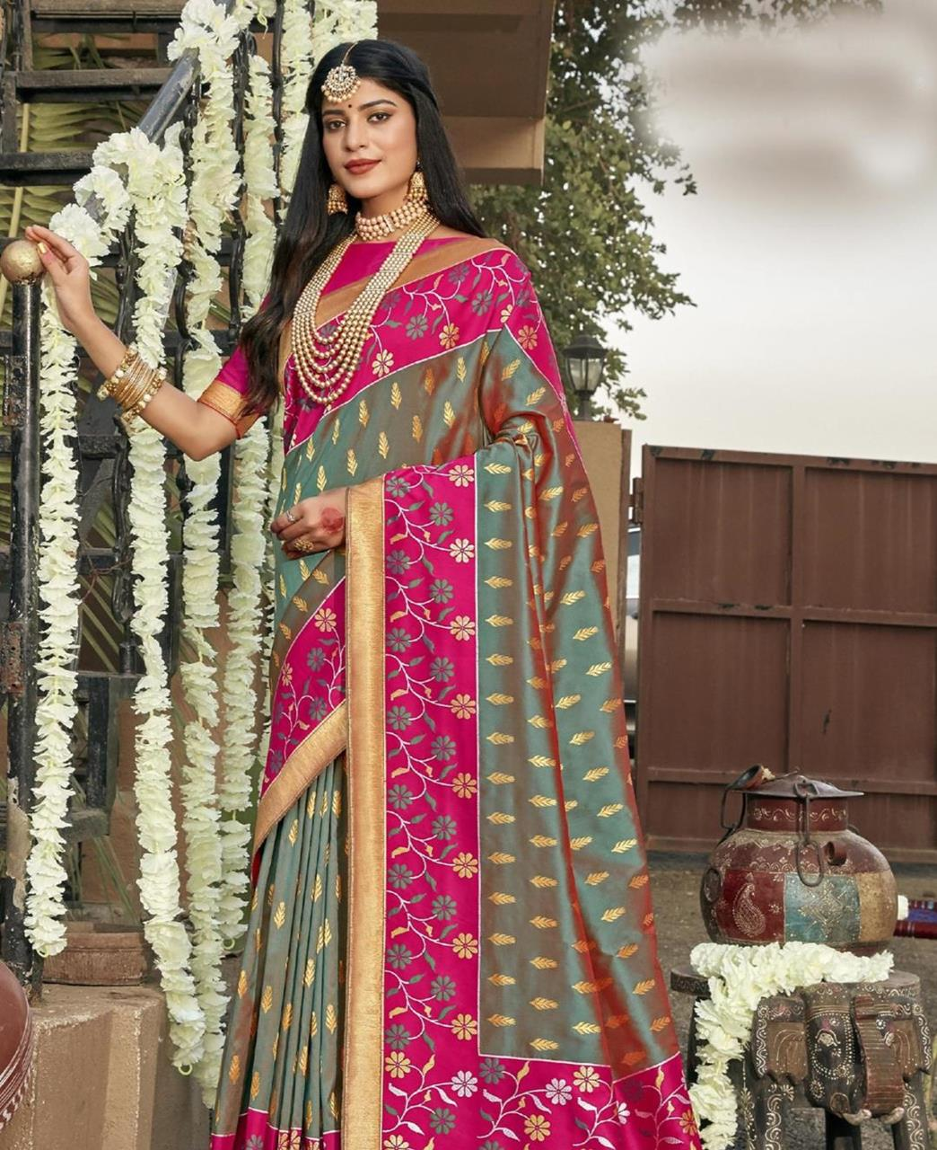 Silk Saree in Green  ,  Pink