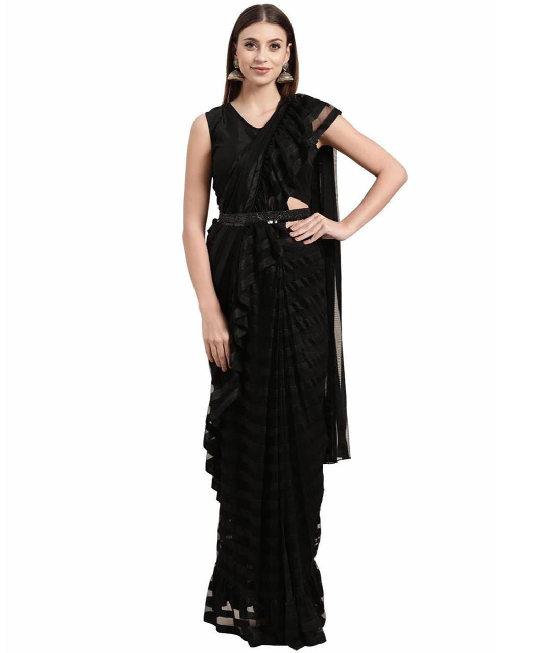 Georgette Saree in Black