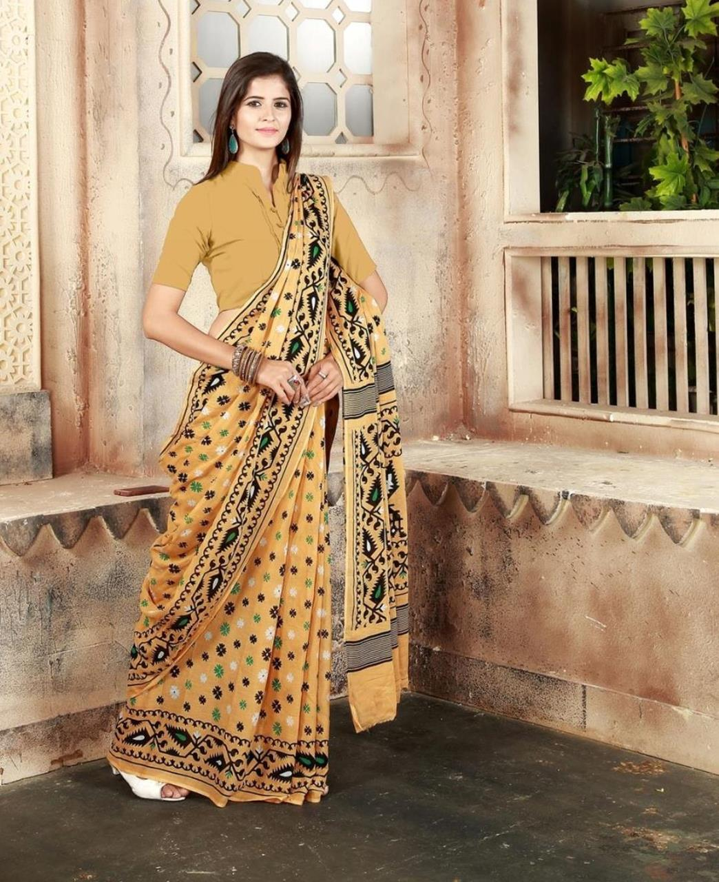 Printed Cotton Saree (Sari) in Yellow