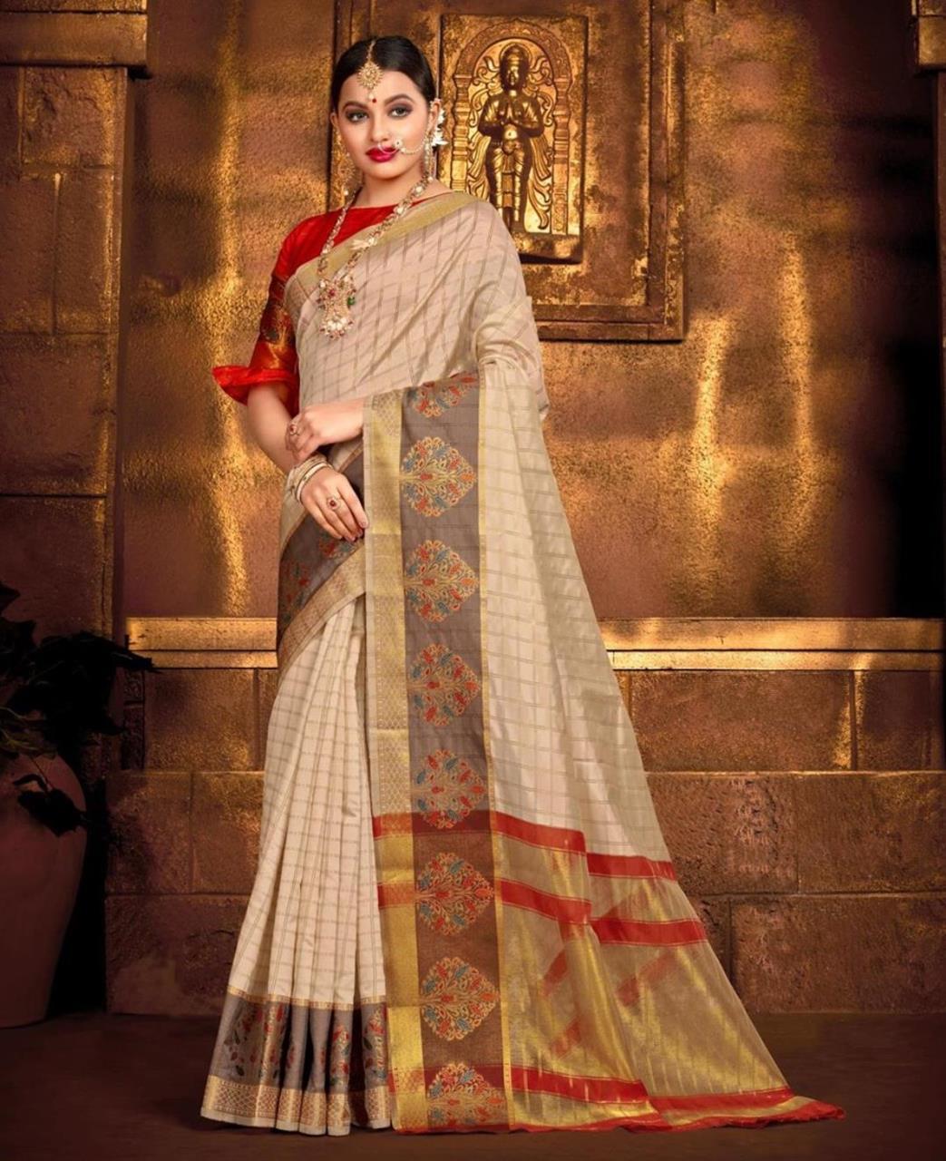 Silk Saree in Cream