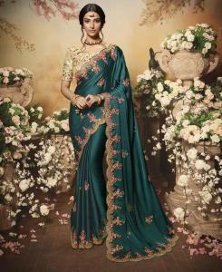 Chiffon Saree in Teal Blue