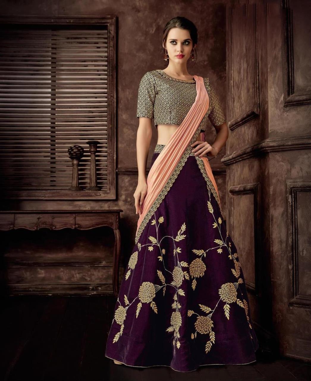 Zari Velvet Saree(Sari) in Purple