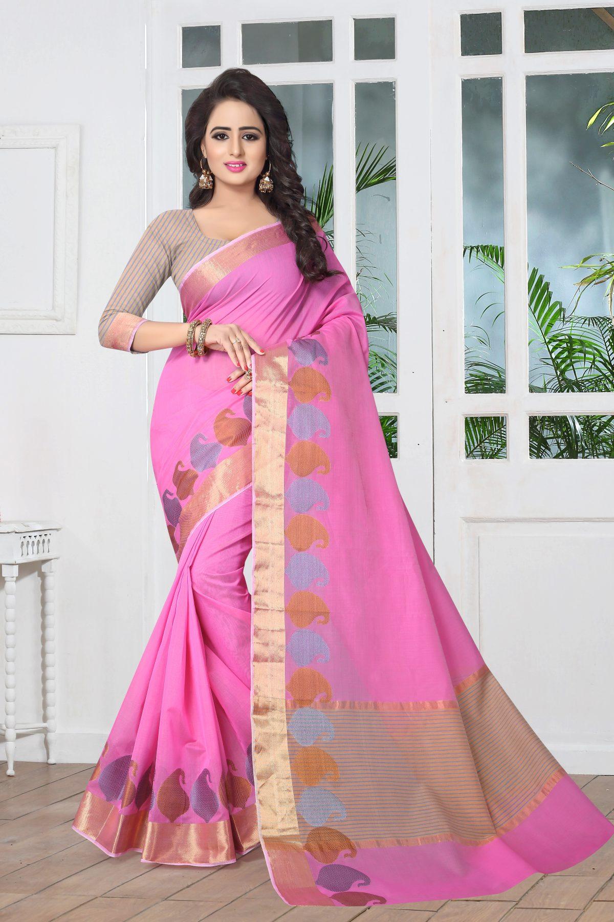 Woven Art Silk Saree in Pink