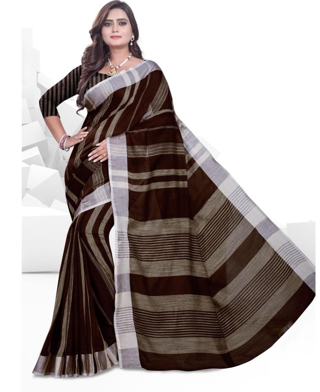 Printed Cotton Saree (Sari) in Brown