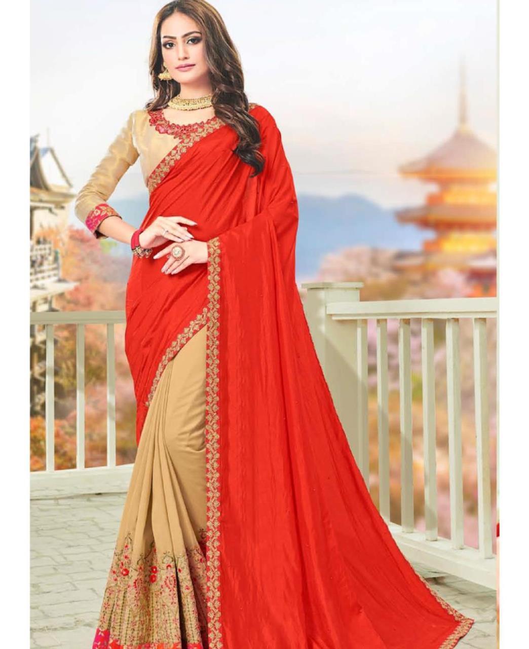 Embroidered Silk Saree in Beige-Red