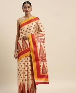 HandWorked Cotton Saree in Cream