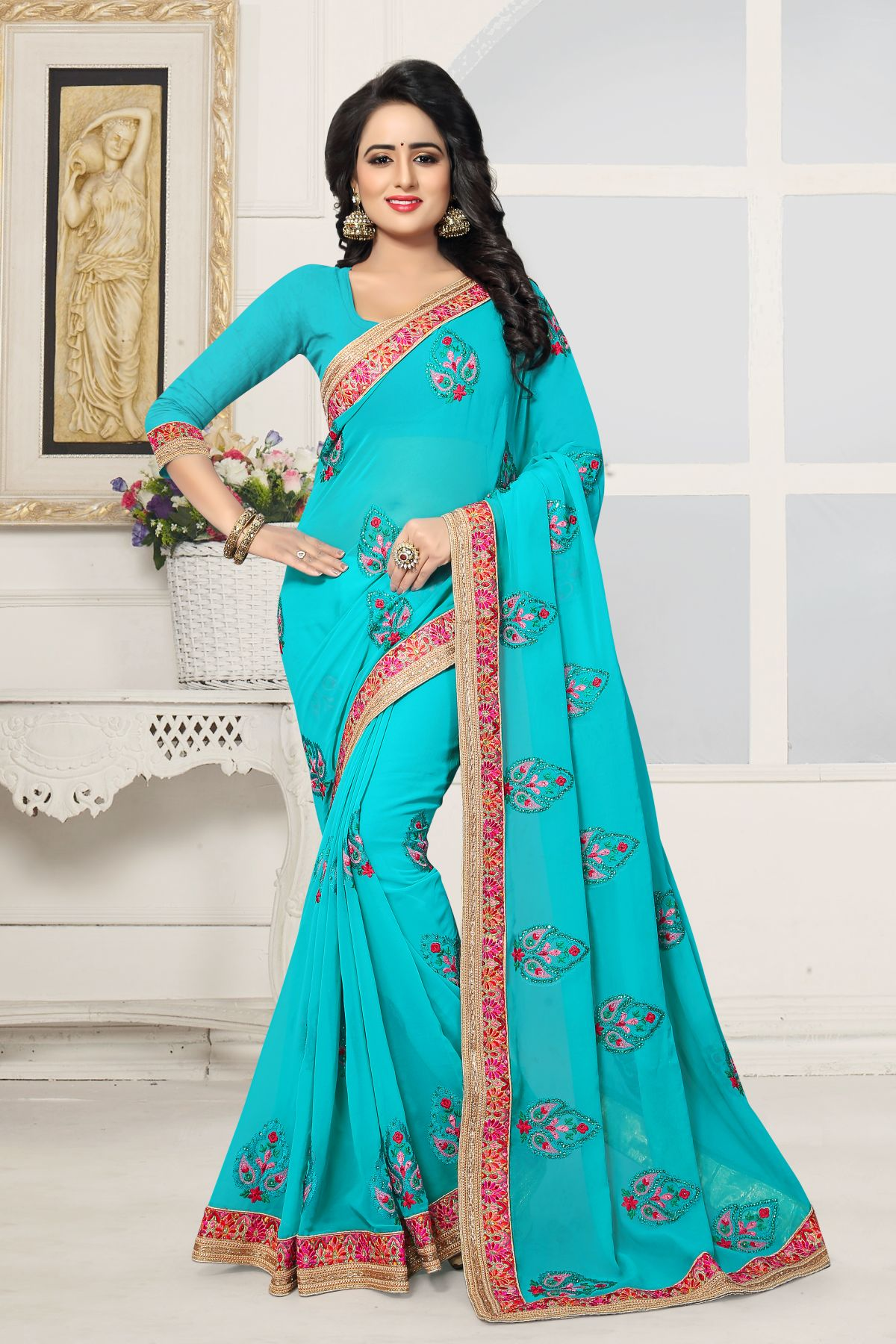 Embroidered Georgette Saree in Turquoise
