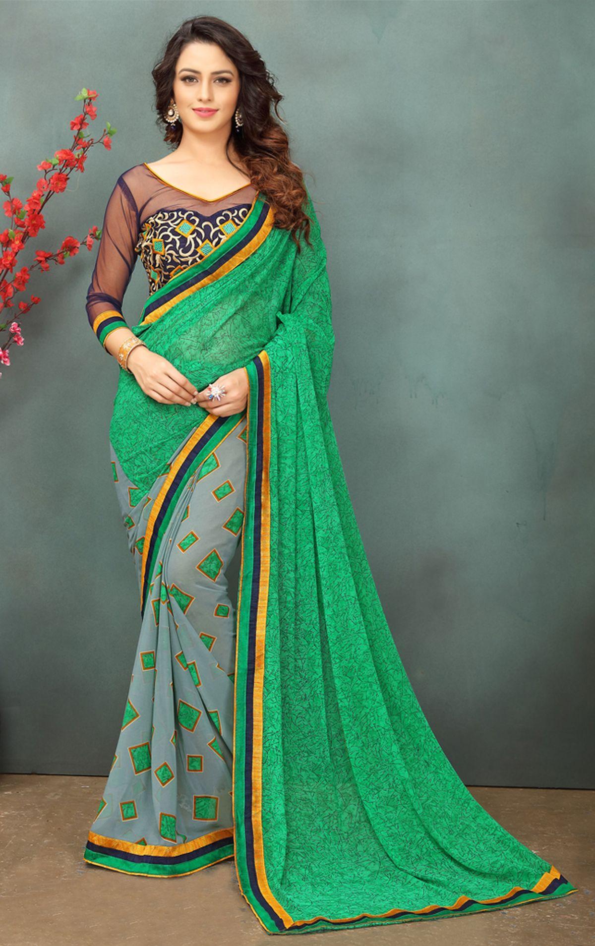 Thread Georgette Saree in Green