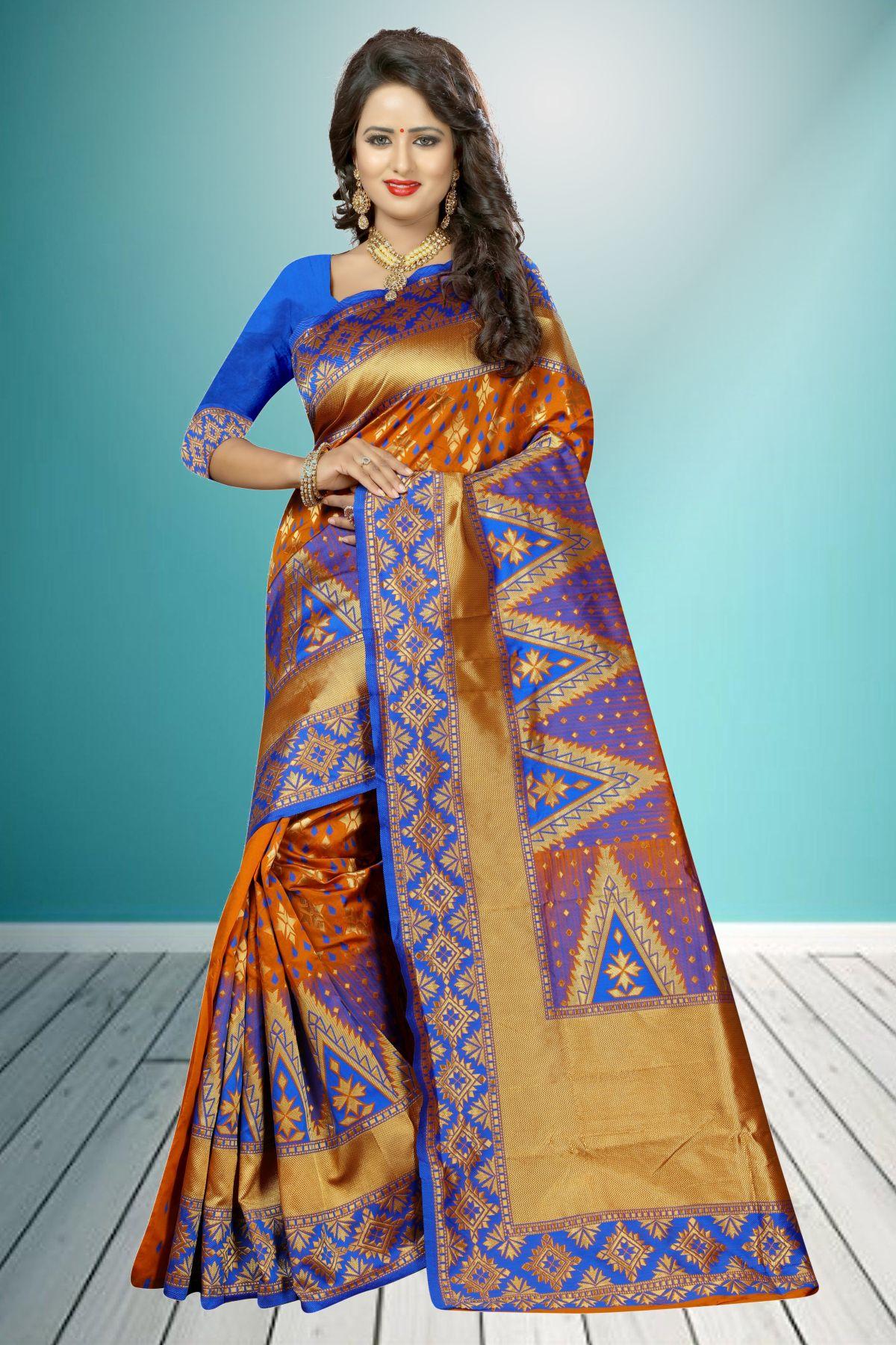 Jacquard Art Silk Saree in Orange