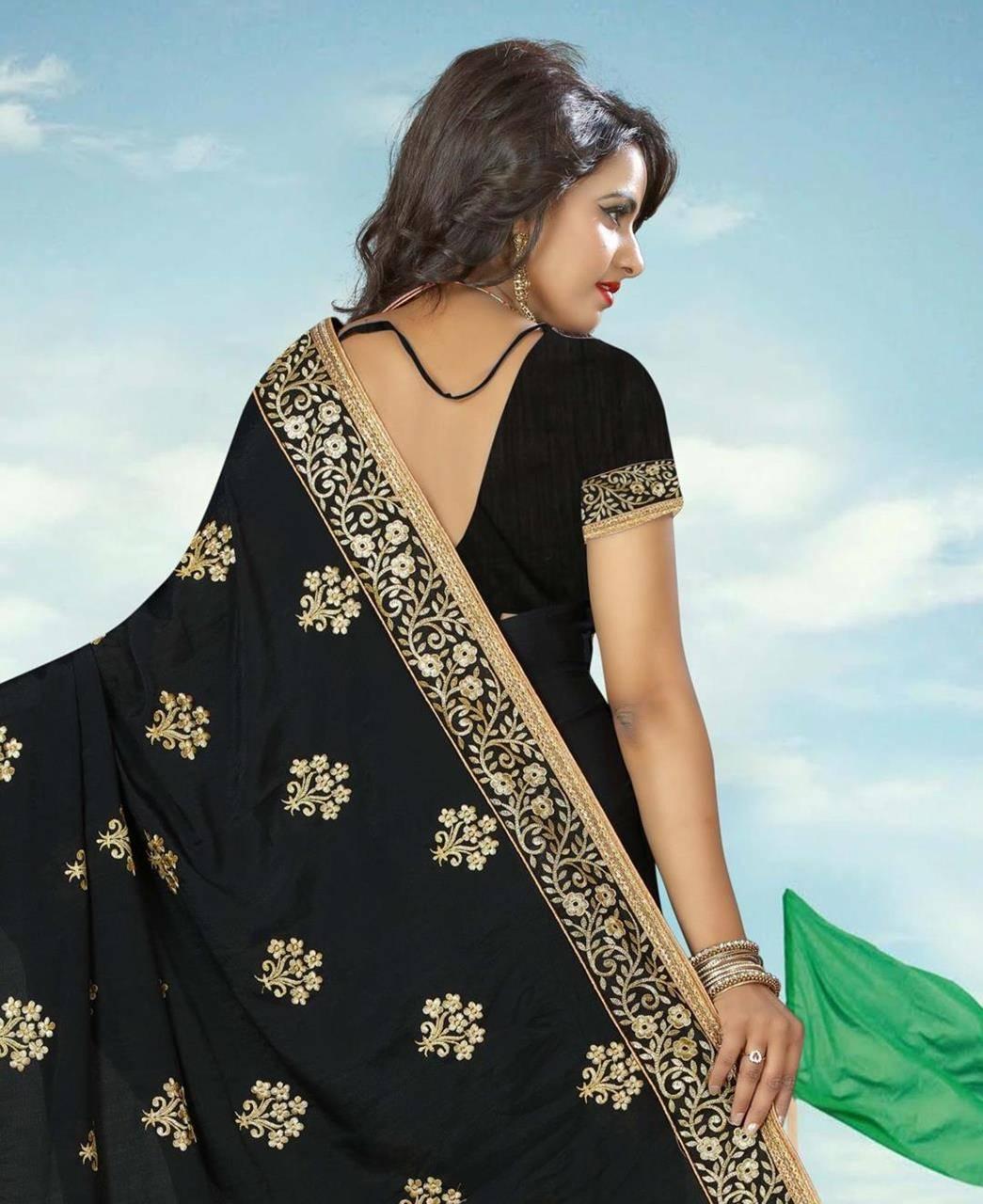 Embroidered Crape Saree (Sari) in Black