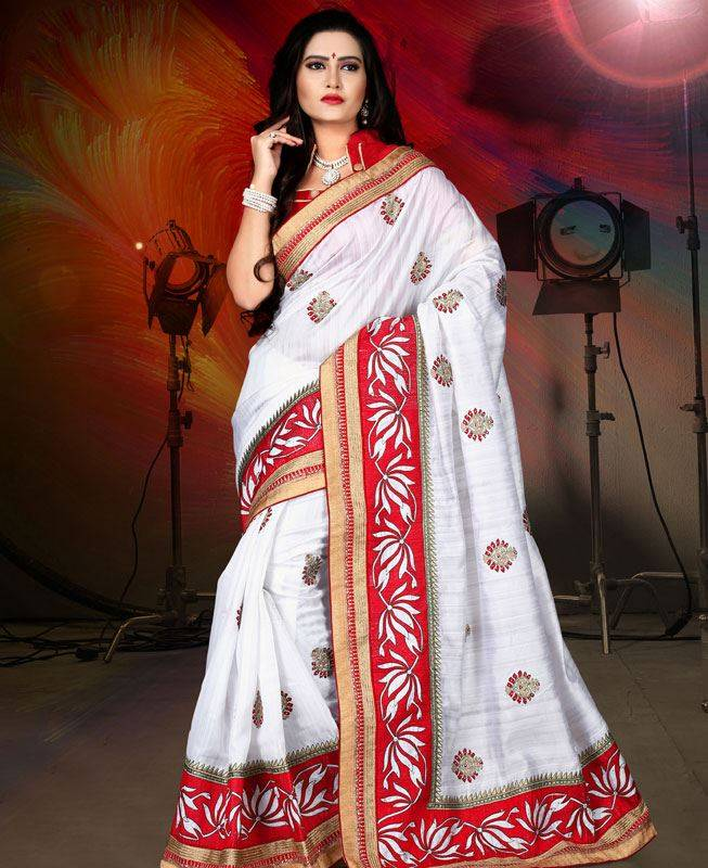 Butta Work Silk Saree (Sari) in White