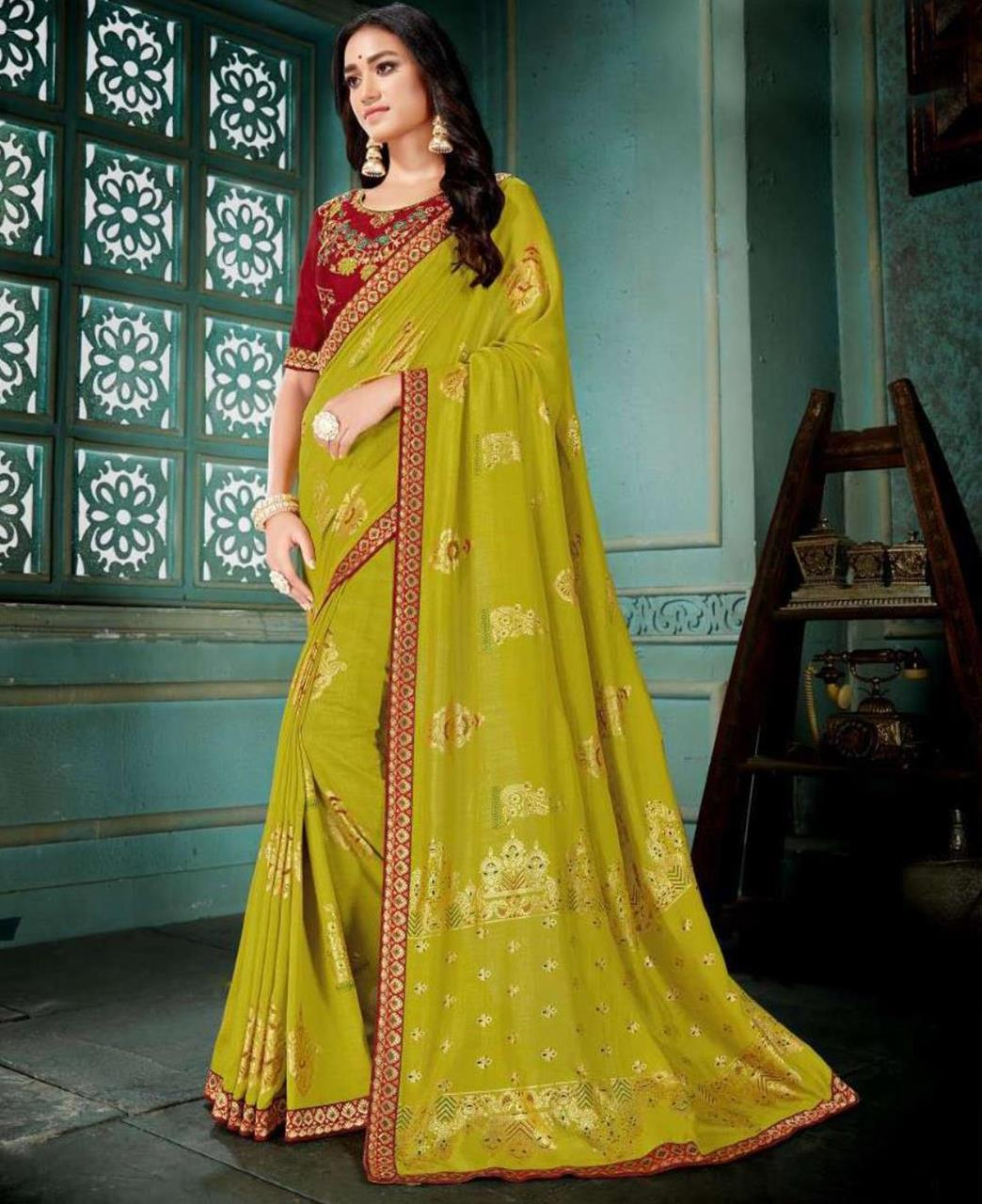 Embroidered Silk Saree in LimeGreen