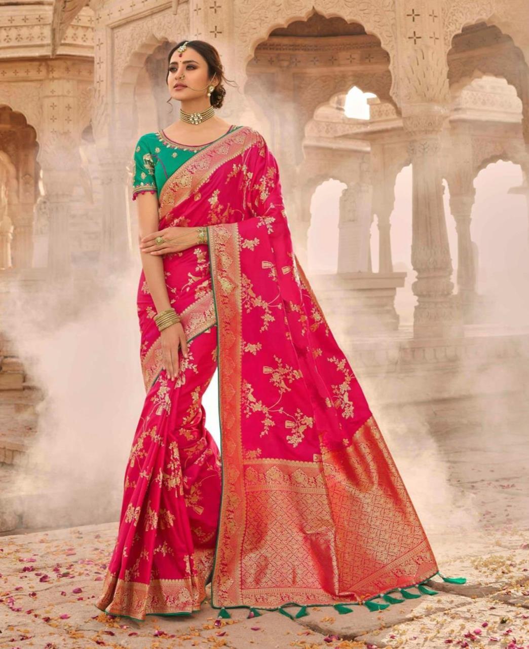Stone Work Silk Saree in Pink