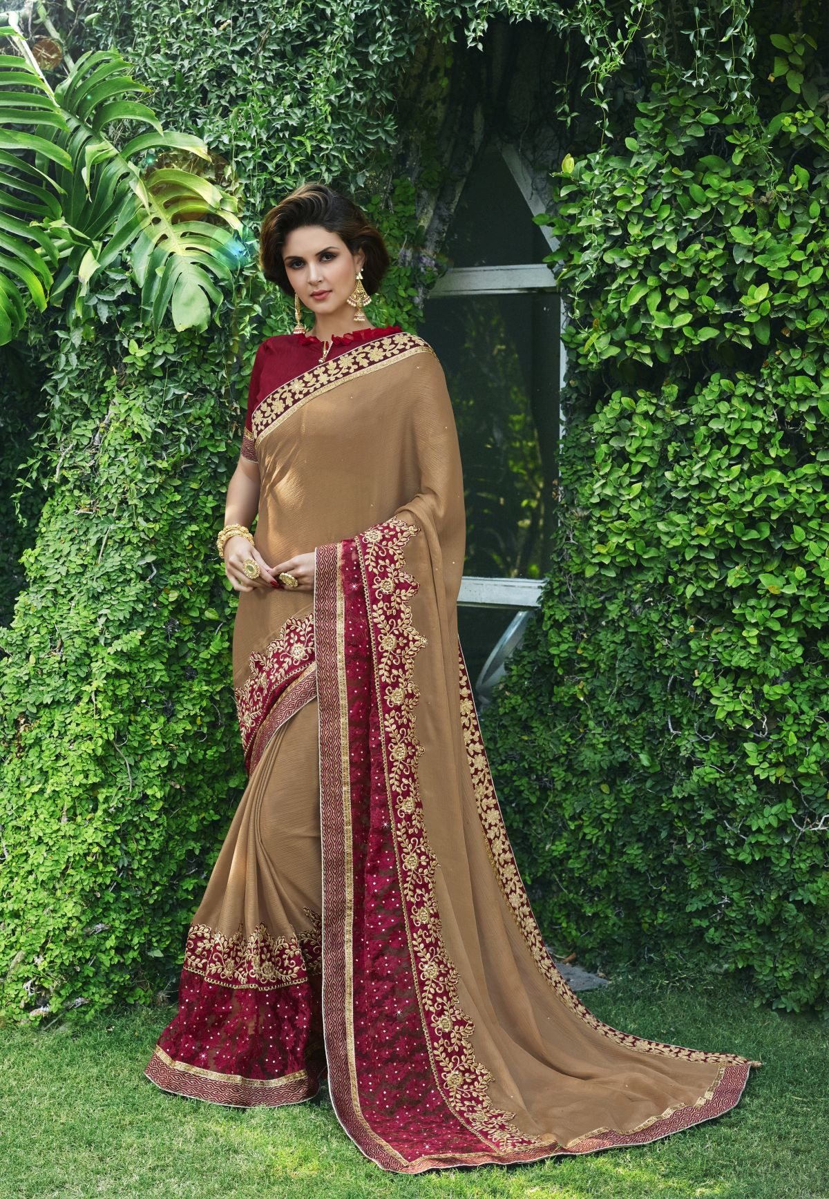 Embroidered Chiffon Saree in Brown