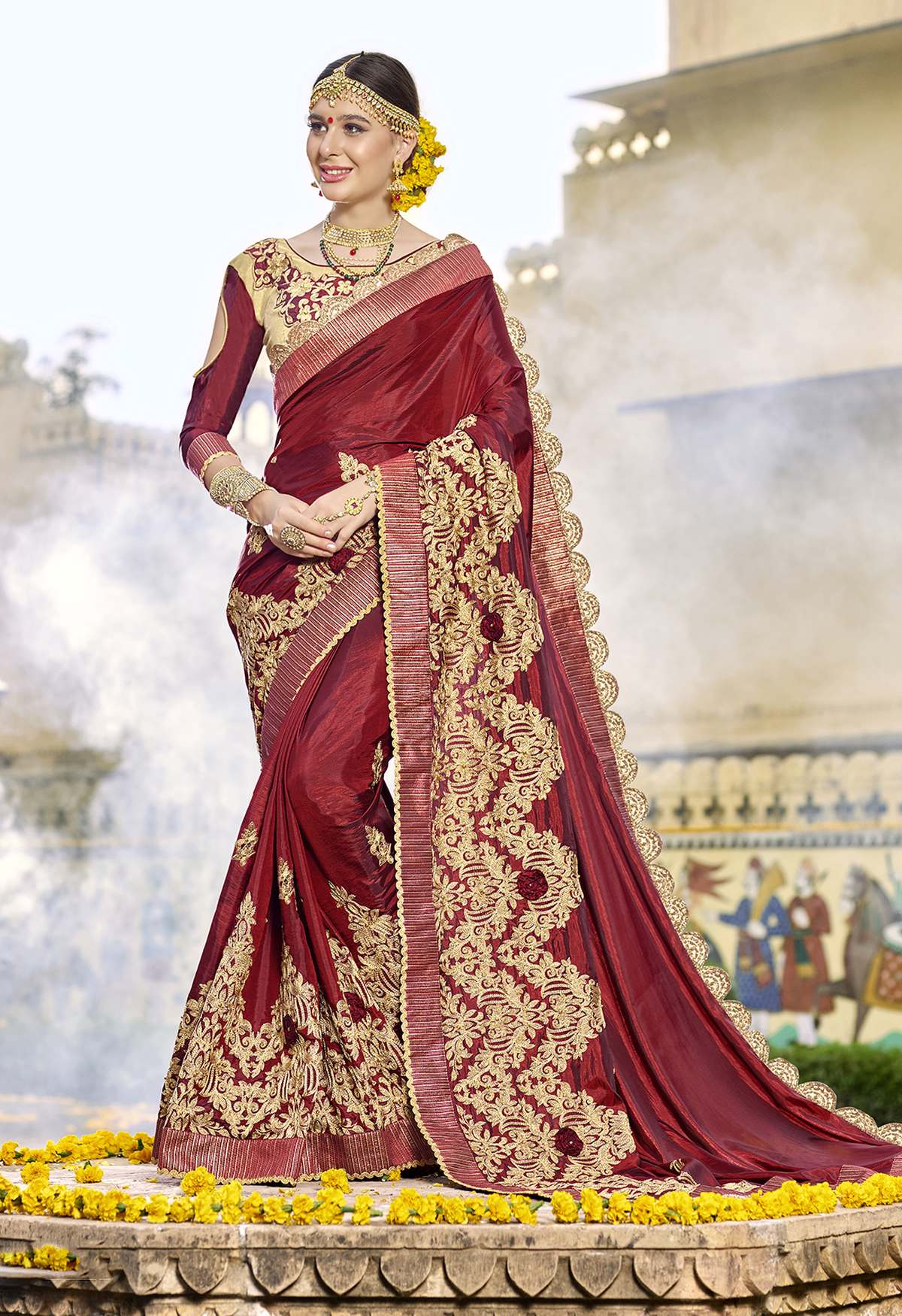 Embroidered Silk Saree in Maroon