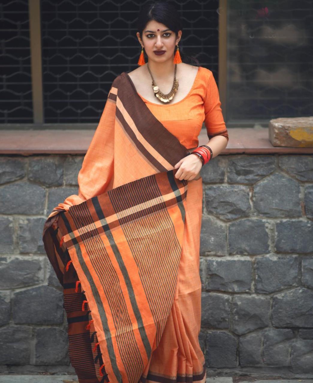 Plain Cotton Saree (Sari) in Orange