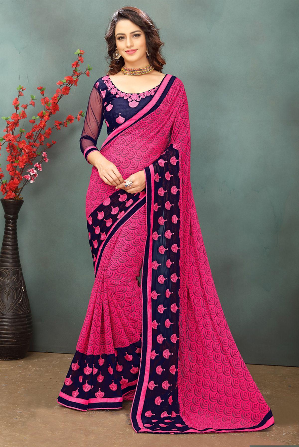Thread Georgette Saree in Pink