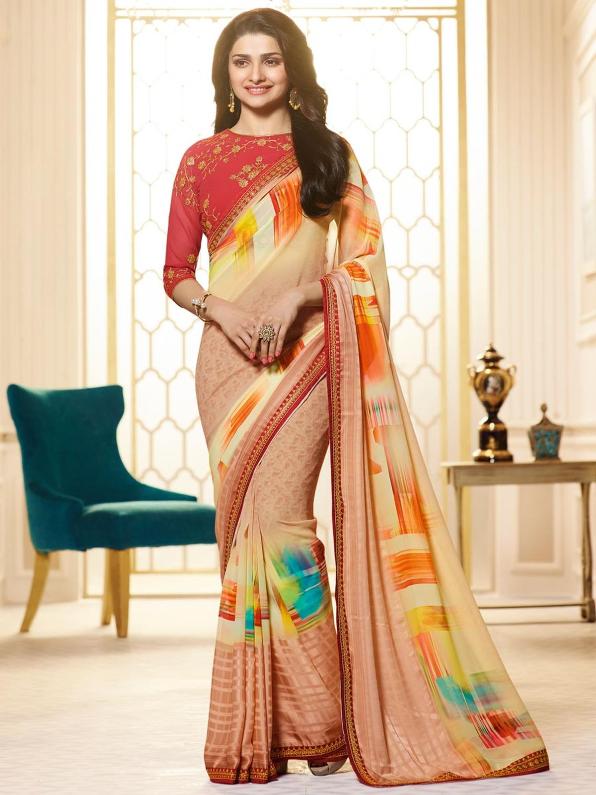 Embroidered Georgette Saree in PeachPuff