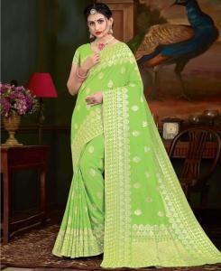 Zari Silk Saree in Light Green