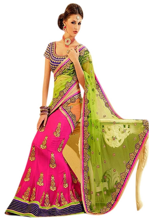 Embroidered Georgette Saree (Sari) in Magenta
