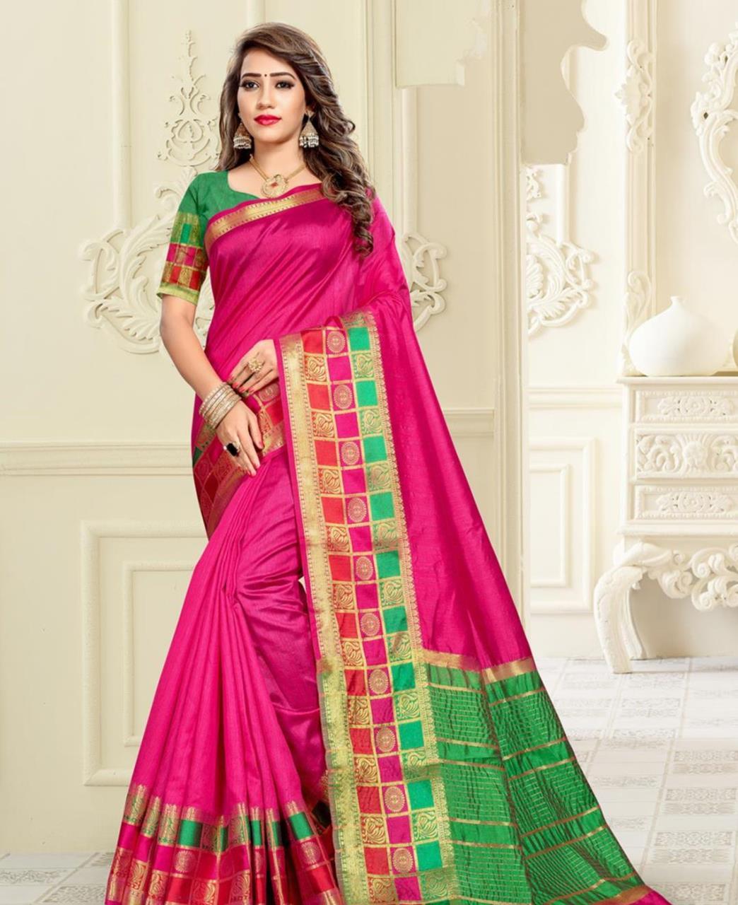 Cotton Saree in Rani Pink