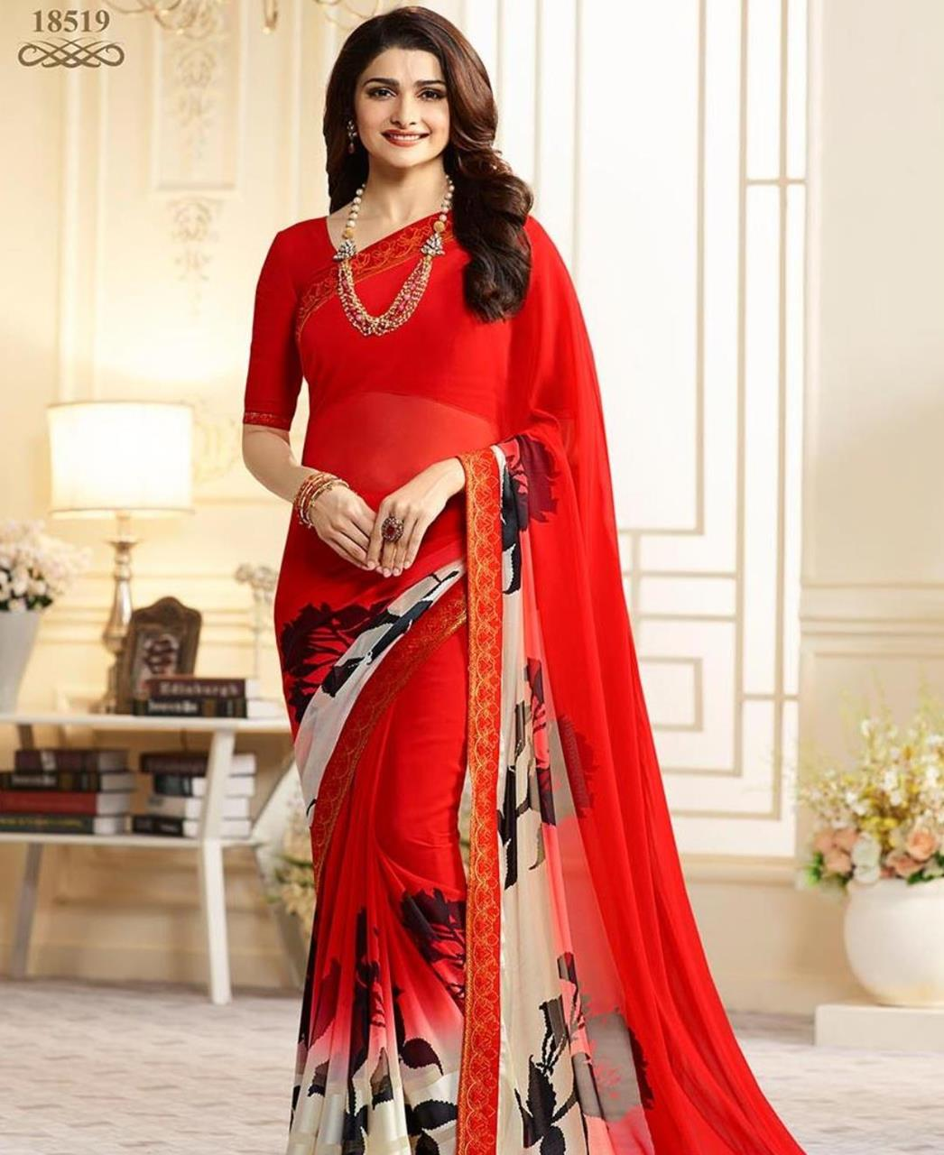 Georgette Saree in Red