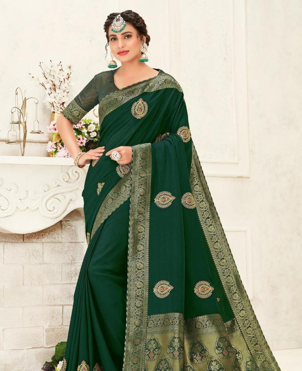 Stone Work Silk Saree in Green