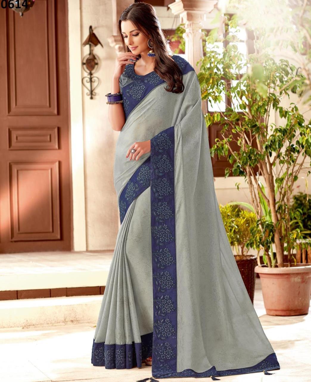 Cord Work Silk Saree (Sari) in Gray