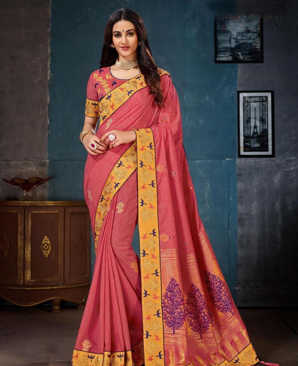 Jacquard Cotton Saree (Sari) in Pink