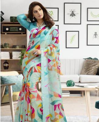 Printed Chiffon Saree in SKYBLUE