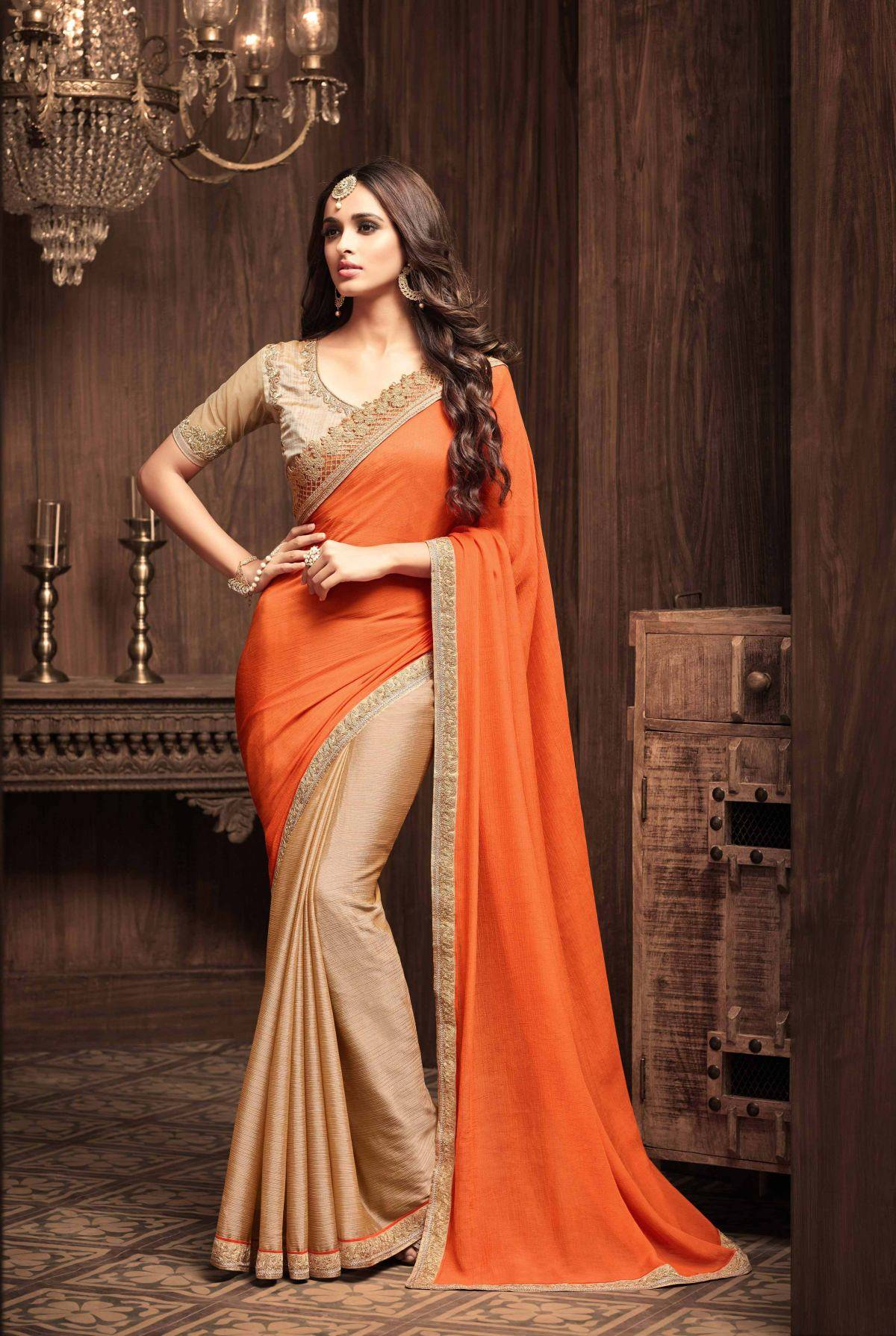 Stone Work Silk Saree (sari) in Orange