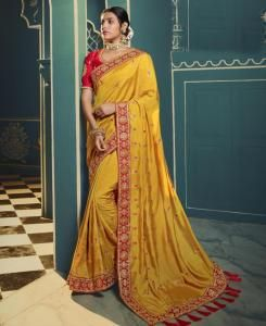 Lace Silk Saree in Yellow