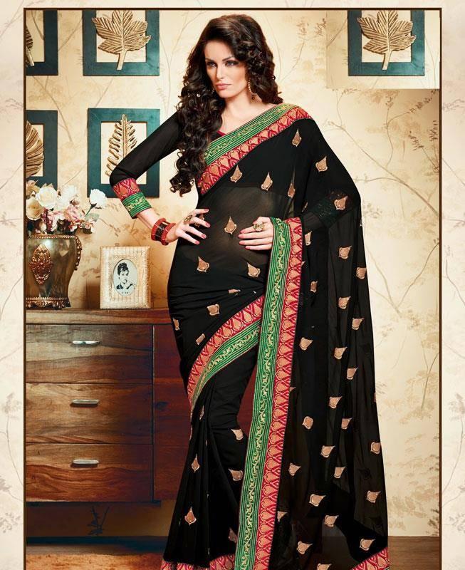 Lace Chiffon Saree (Sari) in Black