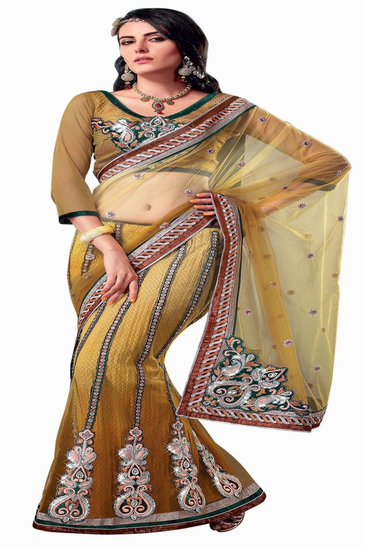 Embroidered Net Saree (Sari) in Beige