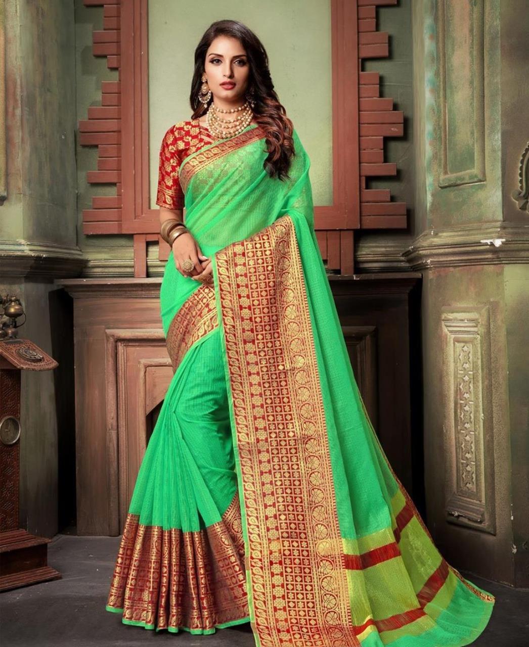 Woven Cotton Saree (Sari) in Green