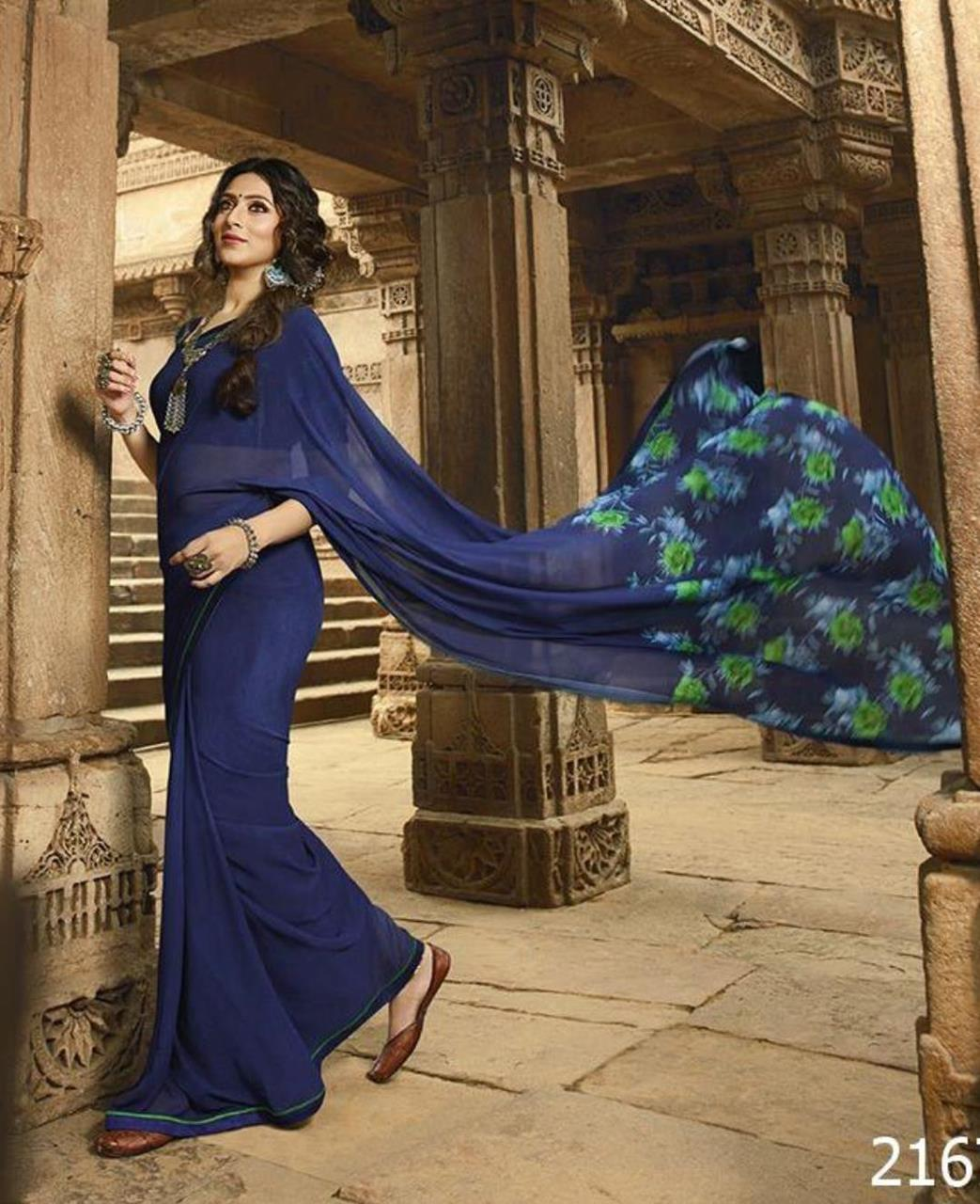 Printed Georgette Saree in Navyblue